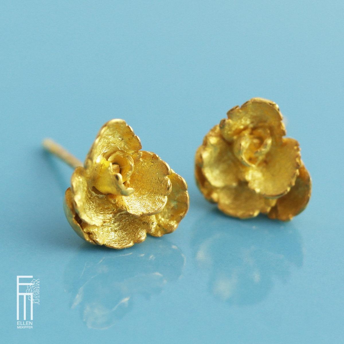 FLORAL - vergoldete Silberohrringe - pendientes con baño de oro floral peq. oro