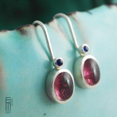 Turmalina + Zafiro - Ohrringe mit Edelsteinen - pendientes con piedras preciosas