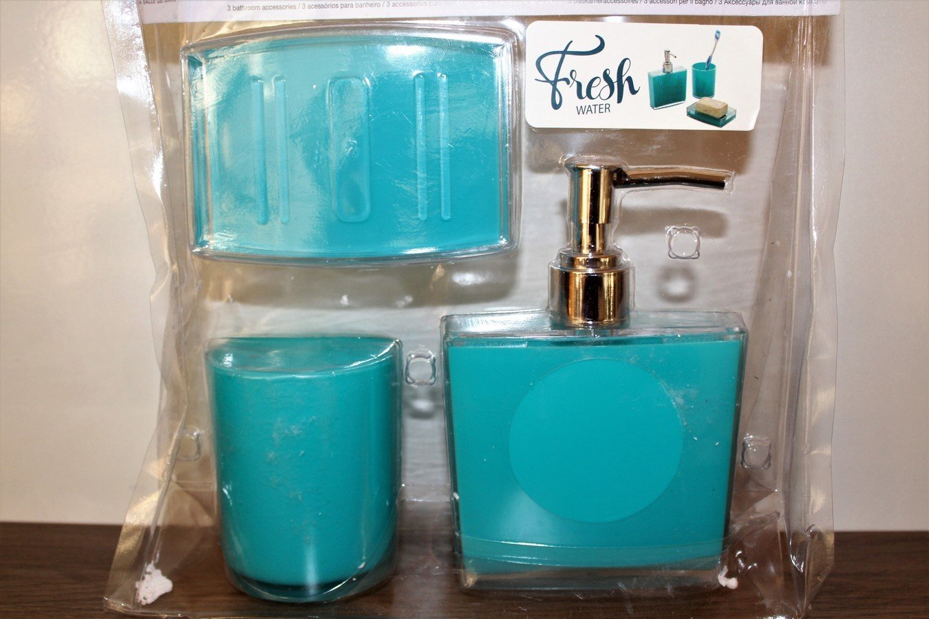 Meuble Salle De Bain Lyon ~ Accessoire Salle De Bain X 3 Acqua Bleu Turquoise Misogn