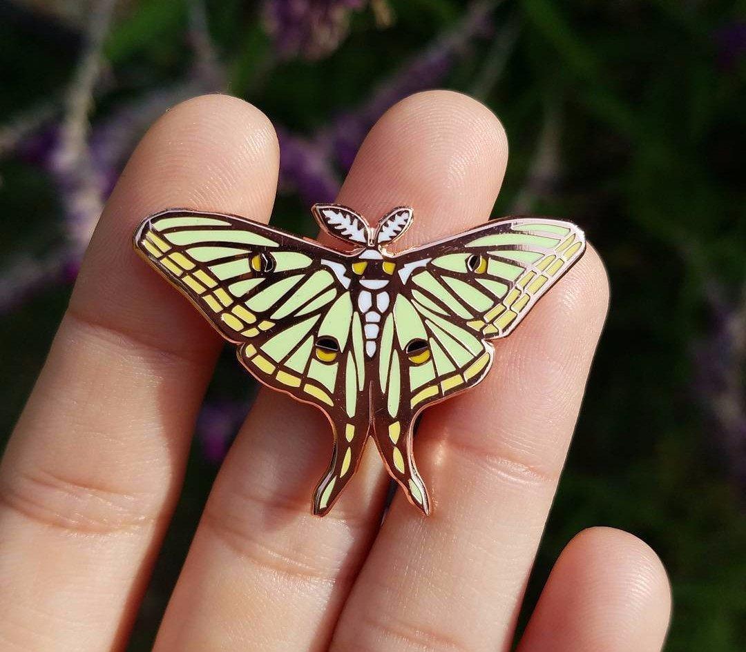 Moon Moth  Enamel Pin by Eyes Wide Open