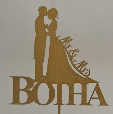 Bridal Couple with Surname  Cake Topper