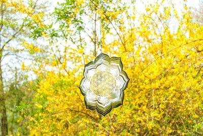 Mobile Fleur de Vie Lotus en acier inoxydable 25,4 cm