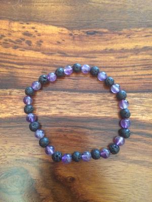 Bracelet en pierre de lave et améthyste