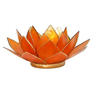 Bougeoir lotus orange