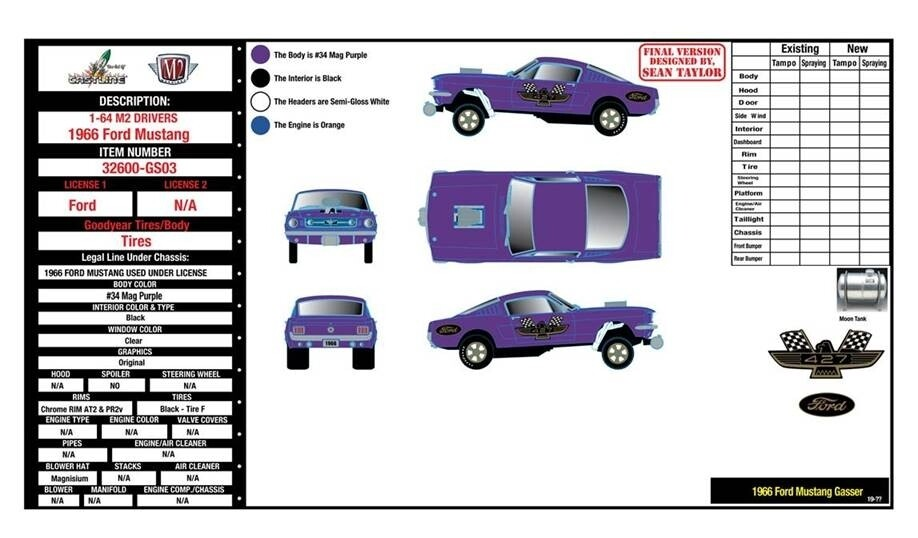 """M2 Machines 1:64 scale 1966 Mustang Gasser/ Release 1 – """"HOBBY EXCLUSIVE PRE ORDER"""