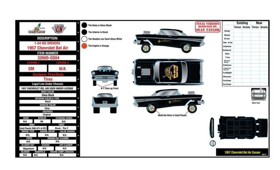 "M2 Machines 1:64 scale 1957 Chevrolet Gasser/Mooneyes Release 1 – ""HOBBY EXCLUSIVE PRE ORDER"
