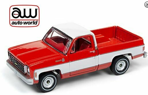 Auto World 1:64 Premium 2019 Release 4 A - Chevy Silverado 10 Fleet Side Truck 1975 Red w/ White 2 Tone