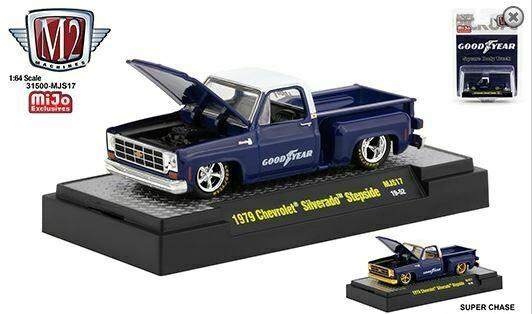 M2 Machines 1:64 Auto-Trucks MJS17 - 1979 Chevrolet Silverado Stepside (Blue)