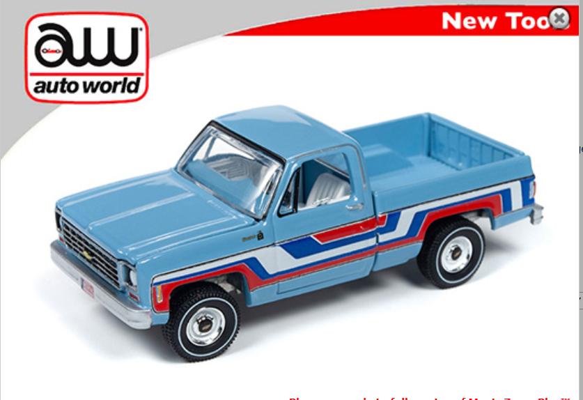 """Auto World 1:64 Premium 1976 Chevy Bonanza Truck """" Bicentennial Edition """" Blue"""