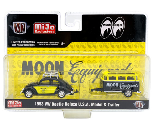 M2 Machines 1953 VW Beetle Deluxe U.S.A. Model & Trailer Mooneyes Mijo 1:64