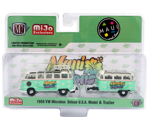 M2 Machines 1959 VW Microbus Deluxe U.S.A. Model & Trailer MAUI and SONS 1:64