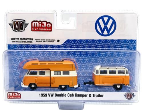 M2 Machines 1959 VW Double Cab Camper & Trailer Orange Mijo 1:64