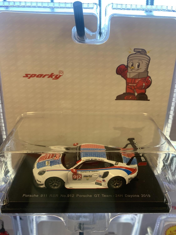 Sparky 1/64 Scale White Red Blue Porsche 911
