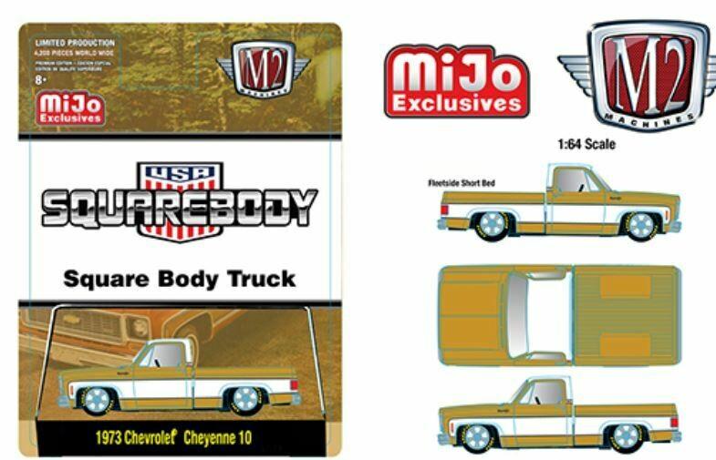 M2 Machines 1:64 Auto Trucks Mijo Exclusive 1973 Chevrolet Cheyenne Squarebody USA Liquid Gold Limited 4,200