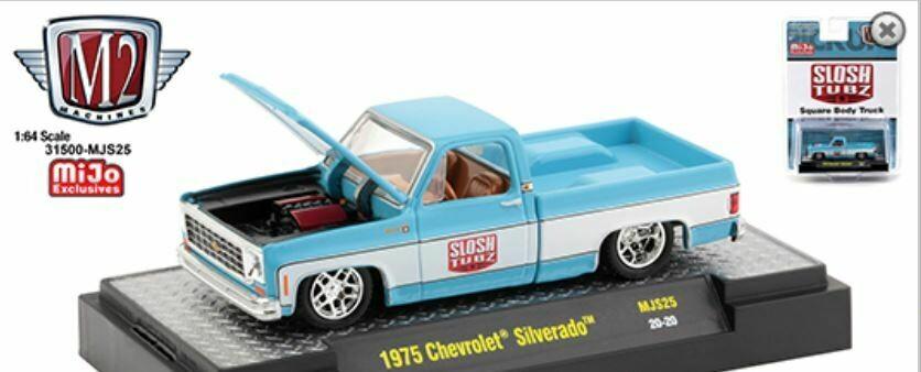 "M2 Machines 1:64 Mijo Exclusive 1975 Chevy Silverado "" Slosh Tubz "" Pick Up Truck Squarebody"