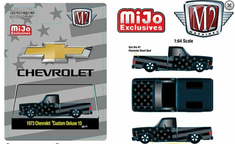 M2 Machines 1:64 MiJo Exclusives - 1973 Chevrolet Custom Deluxe 10 Squarebody Pick Up USA Flag