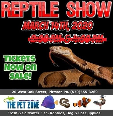Reptile Show March 14th, 2020 4:00pm
