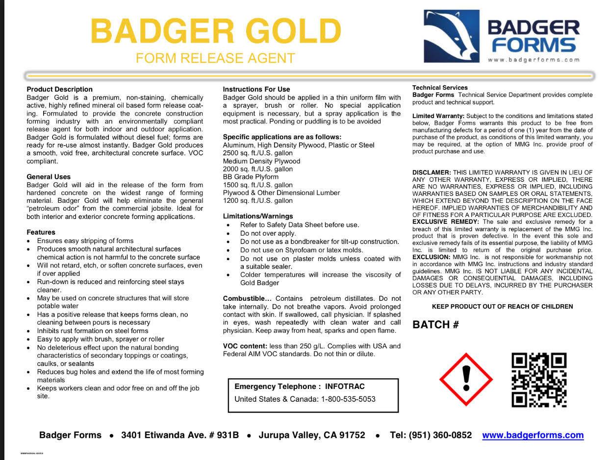 Badger Gold Form Release Agent - 55 Gallon Drum BFBGFRA55GAL