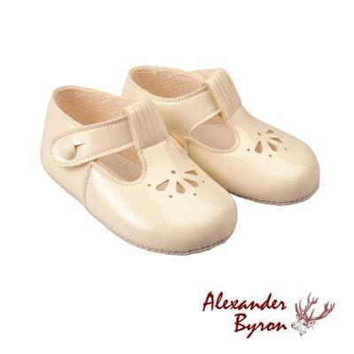a844b6714b20c5 Ivory patent T-bar pram shoe by Baypods
