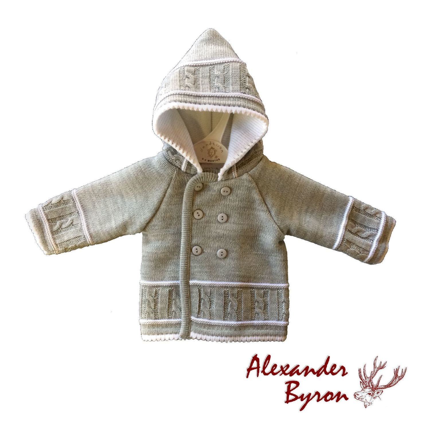 518ffcb0d Grey and white knitted pram coat.
