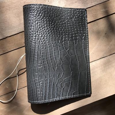 Charcoal Croco Leather Jacket