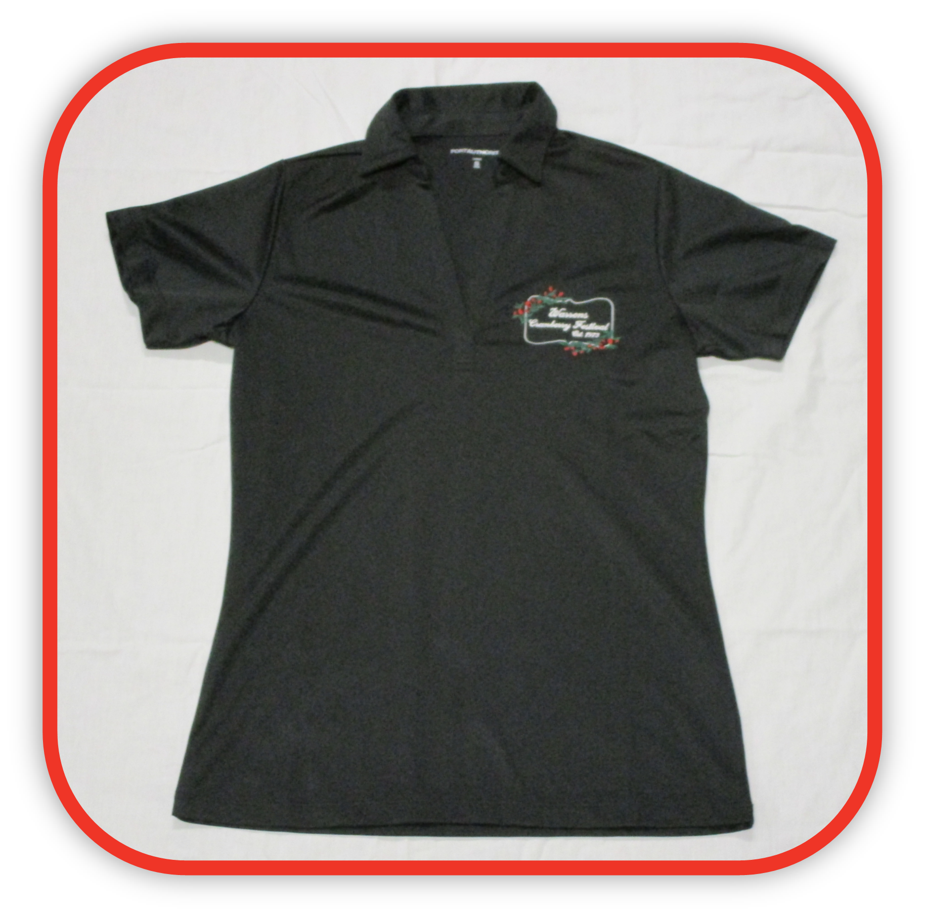 Womens Black Polyester Polo Shirt Short Sleeve