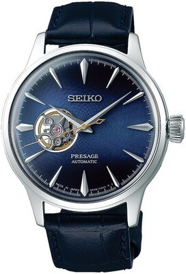 SEIKO Presage Time Blue Moon Open Heart -miesten rannekello