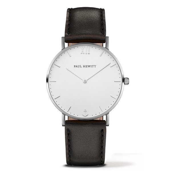 PAUL HEWITT Sailor Line White Sand Stainless Steel Leather Watchstrap Black