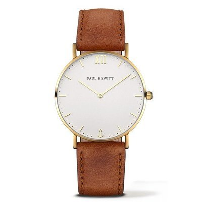 PAUL HEWITT Sailor Line White Sand IP Gold Leather Watchstrap Brown