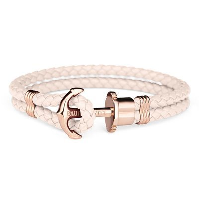 PAUL HEWITT Leather Phrep Anchor Bracelet IP Rose Gold Pink Rose