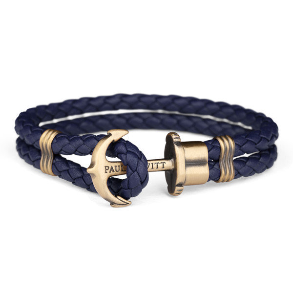 PAUL HEWITT Leather Phrep Anchor Bracelet Brass Navy Blue