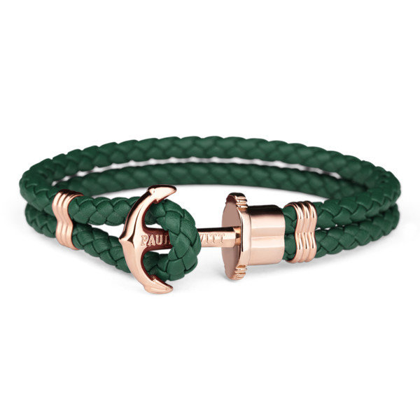 PAUL HEWITT Leather Phrep Anchor Bracelet IP Gold Green