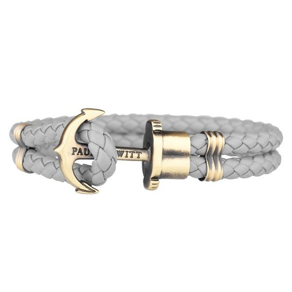 PAUL HEWITT Leather Phrep Anchor Bracelet Brass Grey