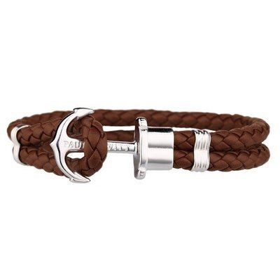 PAUL HEWITT Leather Phrep Anchor Bracelet Stainless Steel Brown