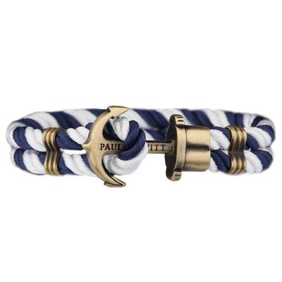 PAUL HEWITT Phrep Anchor Bracelet Brass Nylon Navy Blue-White
