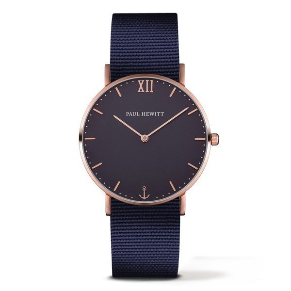 PAUL HEWITT Sailor Line Blue Lagoon IP Rose Gold Nylon Watchstrap Blue Lagoon PH-SA-R-St-B-N-20
