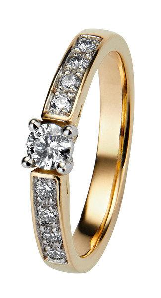 Kohinoor Margit -timanttisormus keltakulta 033-210-31