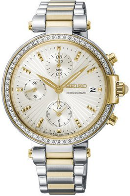 SEIKO Chronograph Quartz Diamond Accent -naisten rannekello