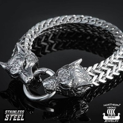 NORTHERN VIKING JEWELRY Steel Wolf Head -rannekoru