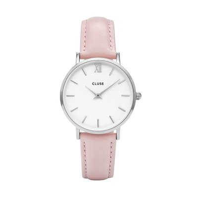 CLUSE Minuit Silver White/Pink -naisten rannekello