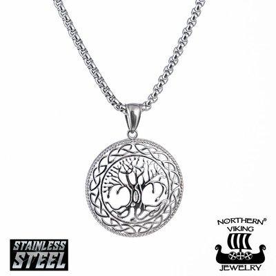 NORTHERN VIKING JEWELRY Shiny Steel Tree Of Life -riipus