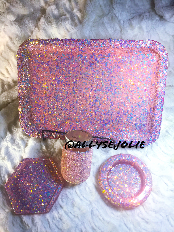 Golden Pink Color Shift Glitter Rolling /Vanity Tray Set