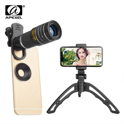 APEXEL 20X Zoom Telephoto Lens Premium Optical Glass Camera Telescope Lens for Mobile Phone With Tripod