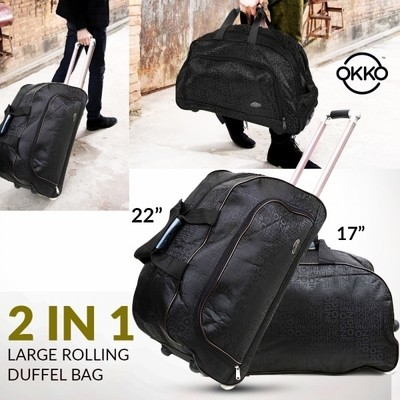 OKKO 2 in 1 Oxford Multi Function Large Rolling Duffle Bag, Black - GH-190