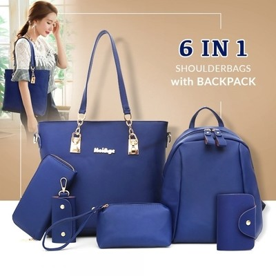 6 in 1 Preppy Style Women Shoulder Bags with Backpack - Blue