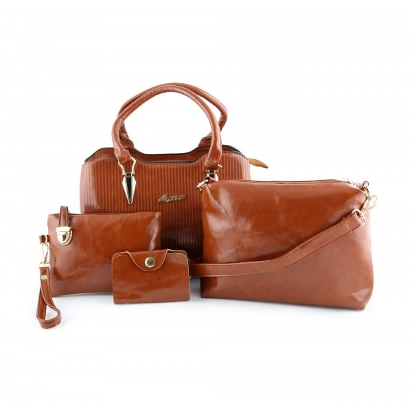 MYNES Leather Satchel Set 4 Bags - ACE-17-BROWN