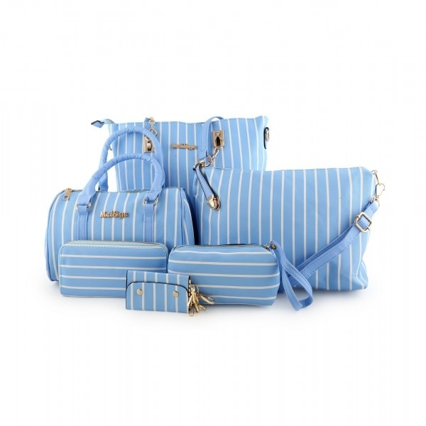 Striped Canvas Long Shoulder Bags Set of 5 Pcs - ACE-7-BLUE