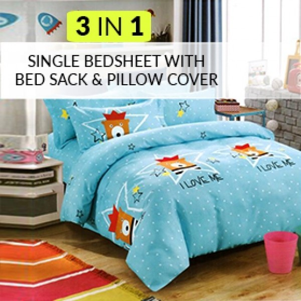 3 in 1 Single Bedsheet with Bed Sack & Pillow Cover
