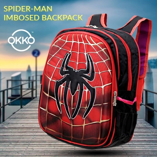 OKKO Spider-Man Embossed Backpack with Zip Closure and Adjustable Straps