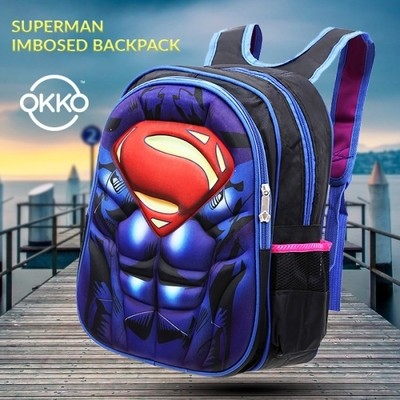 OKKO Superman Embossed Backpack with Zip Closure and Adjustable Straps